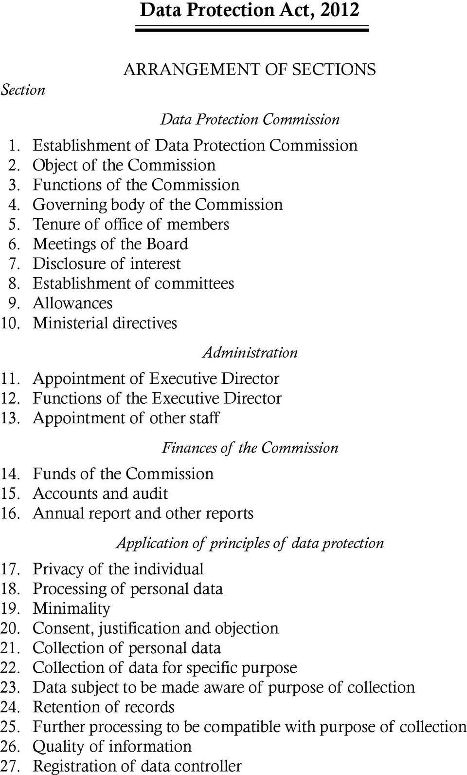 Ministerial directives Administration 11. Appointment of Executive Director 12. Functions of the Executive Director 13. Appointment of other staff Finances of the Commission 14.