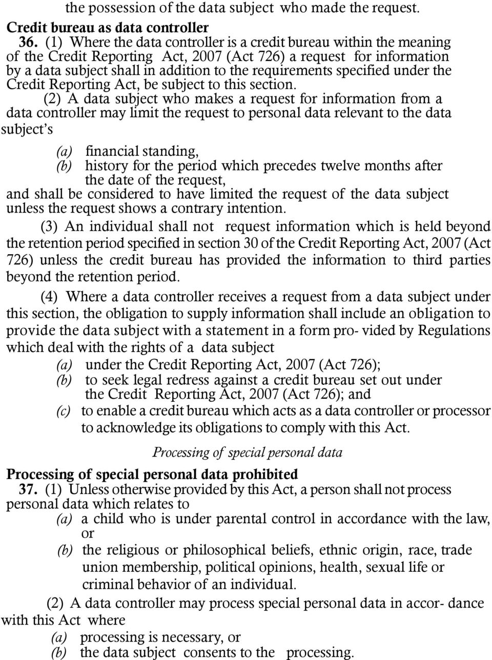 specified under the Credit Reporting Act, be subject to this section.