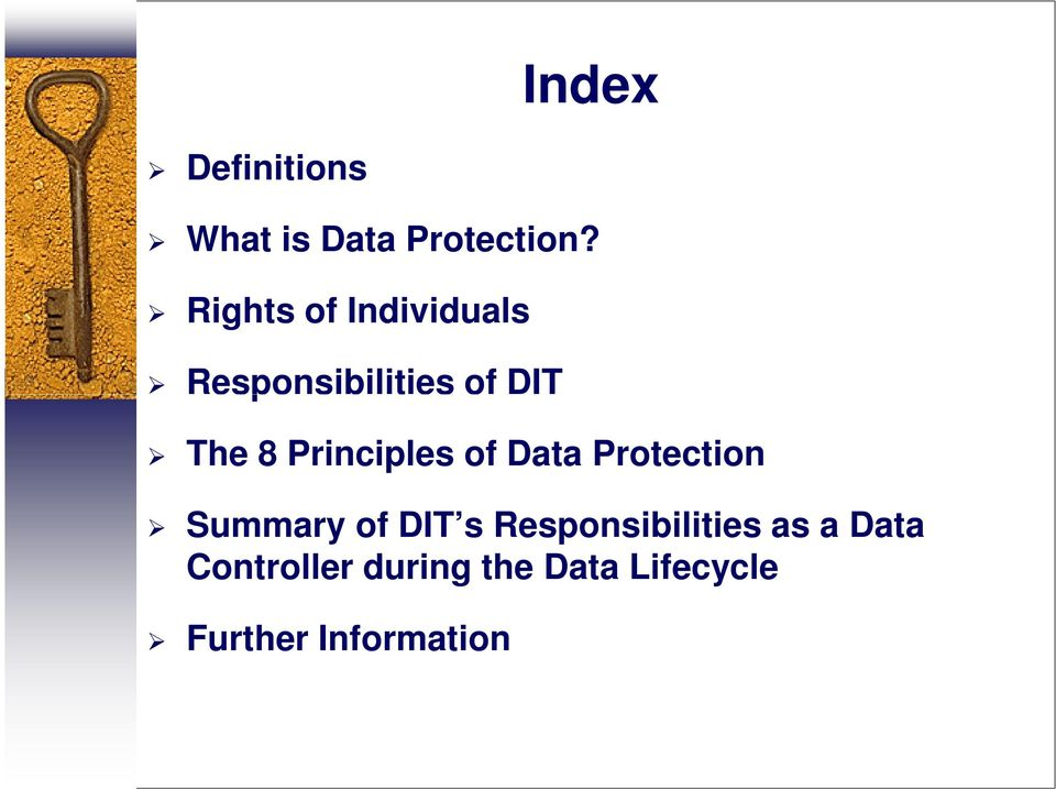 Principles of Data Protection Summary of DIT s
