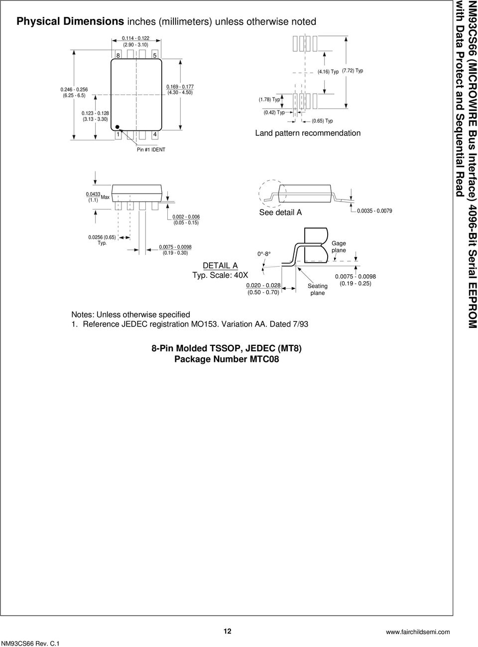 65) Typ Land pattern recommendation See detail A 0-8 0.020-0.028 (0.50-0.70) Notes: Unless otherwise specified 1. Reference JEDEC registration MO153. Variation AA.