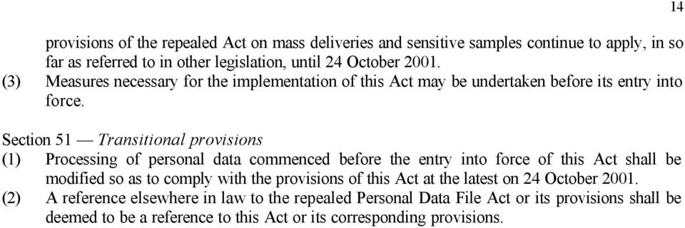 Section 51 Transitional provisions (1) Processing of personal data commenced before the entry into force of this Act shall be modified so as to comply with the