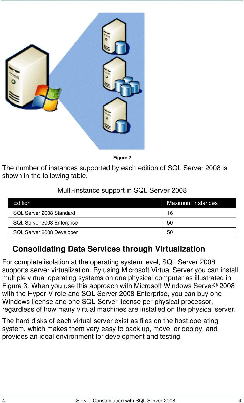 Virtualization For complete isolation at the operating system level, SQL Server 2008 supports server virtualization.