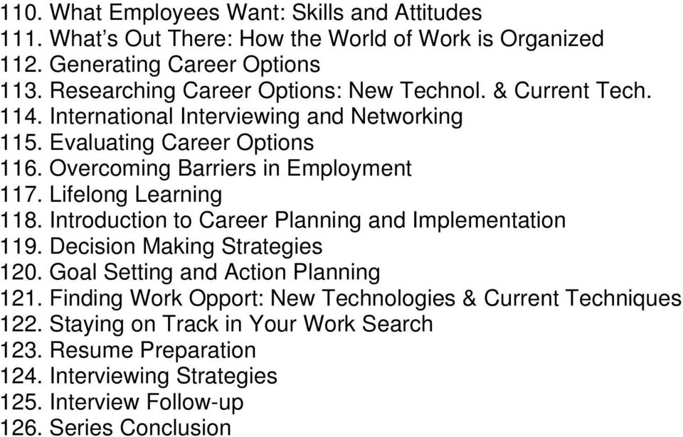 Overcoming Barriers in Employment 117. Lifelong Learning 118. Introduction to Career Planning and Implementation 119. Decision Making Strategies 120.