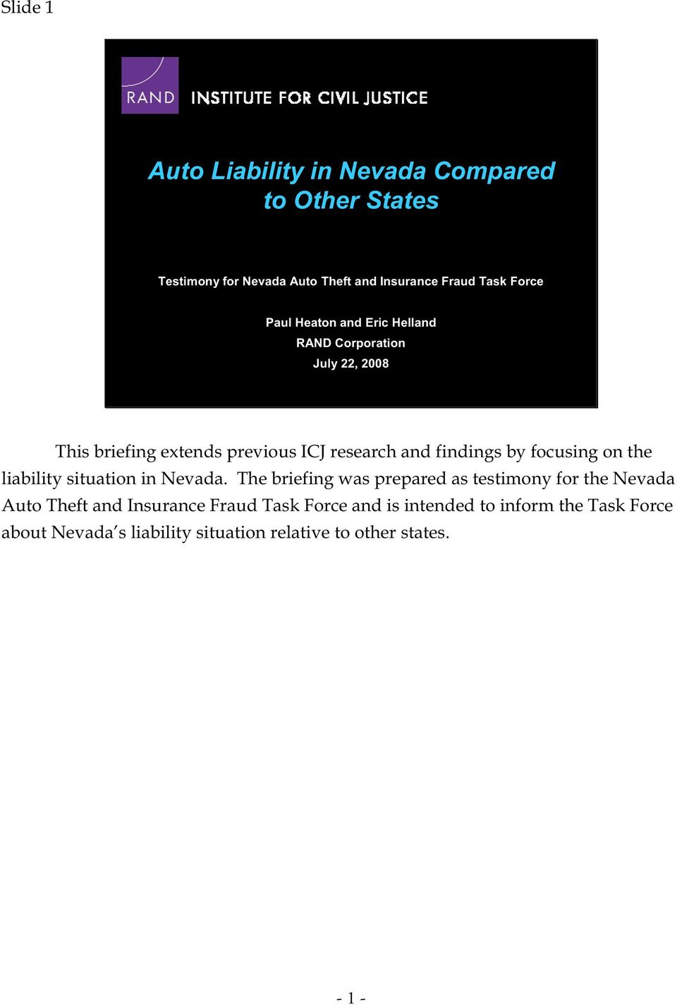 focusing on the liability situation in Nevada.