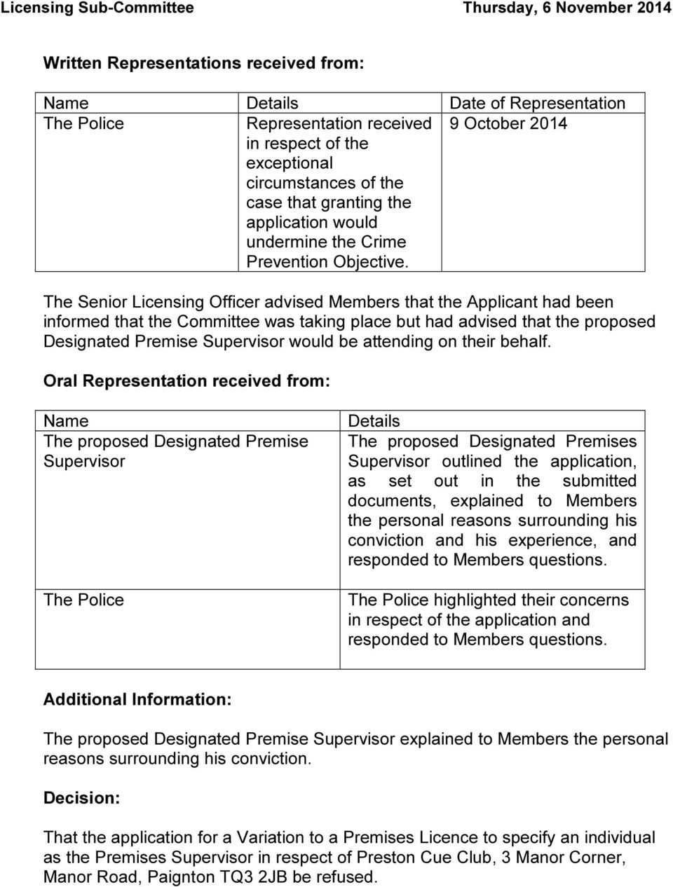 9 October 2014 The Senior Licensing Officer advised Members that the Applicant had been informed that the Committee was taking place but had advised that the proposed Designated Premise Supervisor