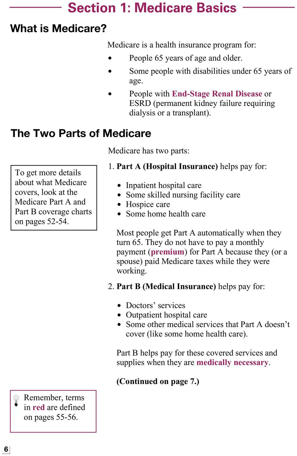 Medicare has two parts: To get more details about what Medicare covers, look at the Medicare Part A and Part B coverage charts on pages 52-54. 1.