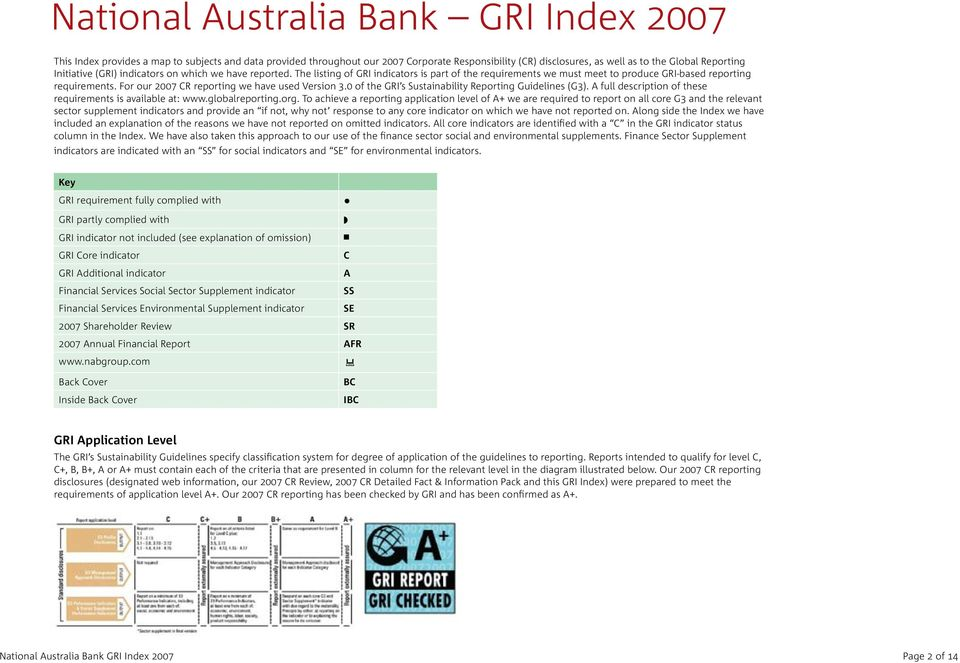 For our 2007 CR reporting we have used Version 3.0 of the GRI s Sustainability Reporting Guidelines (G3). A full description of these requirements is available at: www.globalreporting.org.