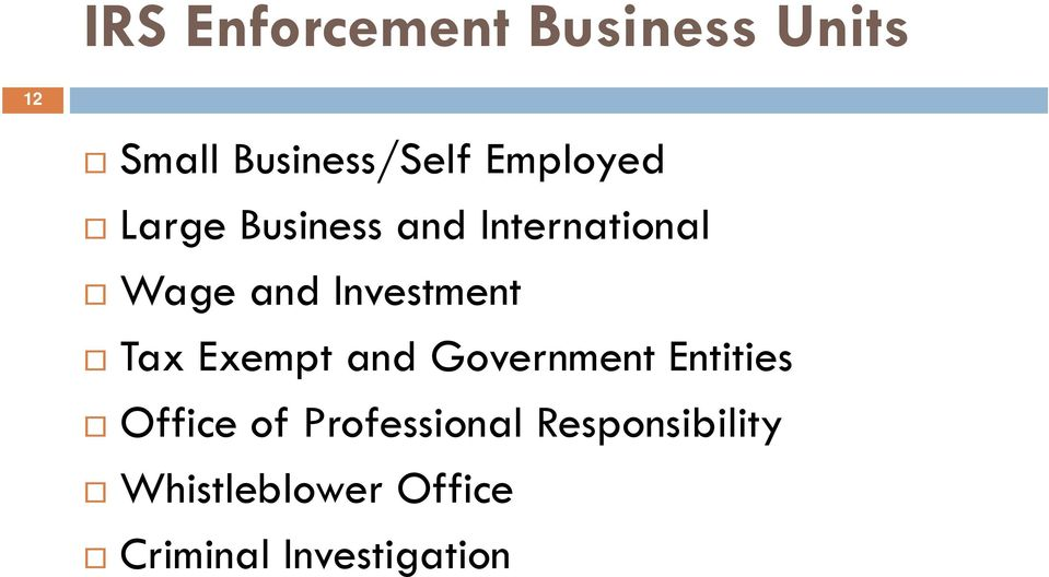 Investment Tax Exempt and Government Entities Office of
