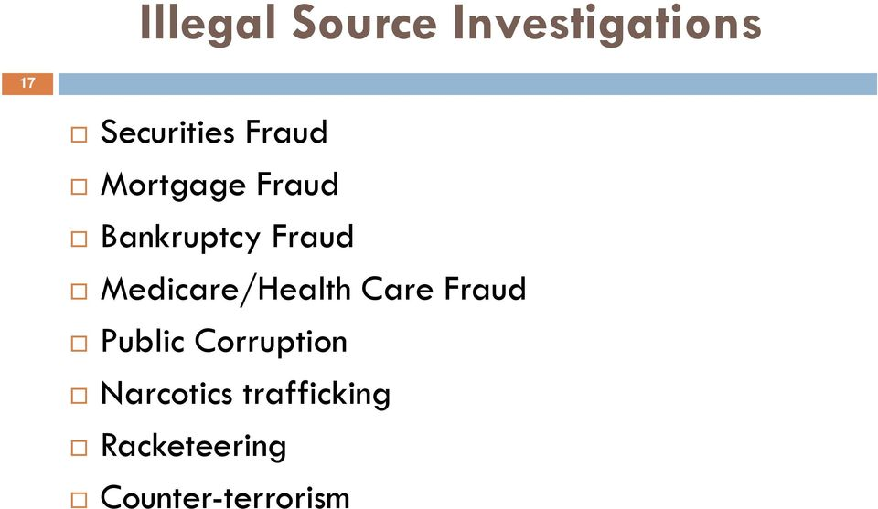 Medicare/Health Care Fraud Public Corruption