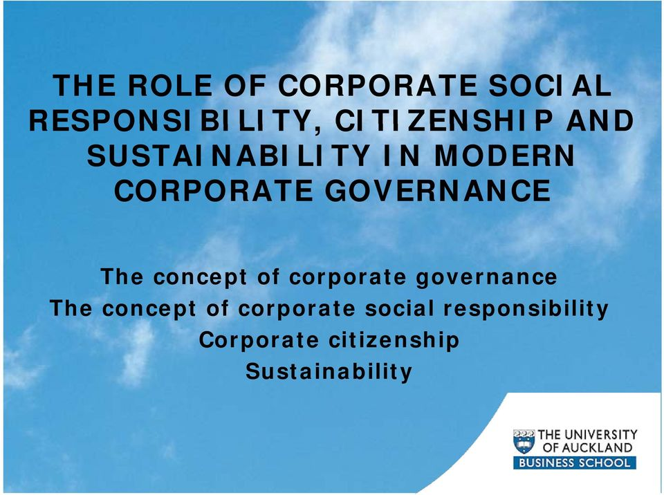 concept of corporate governance The concept of corporate