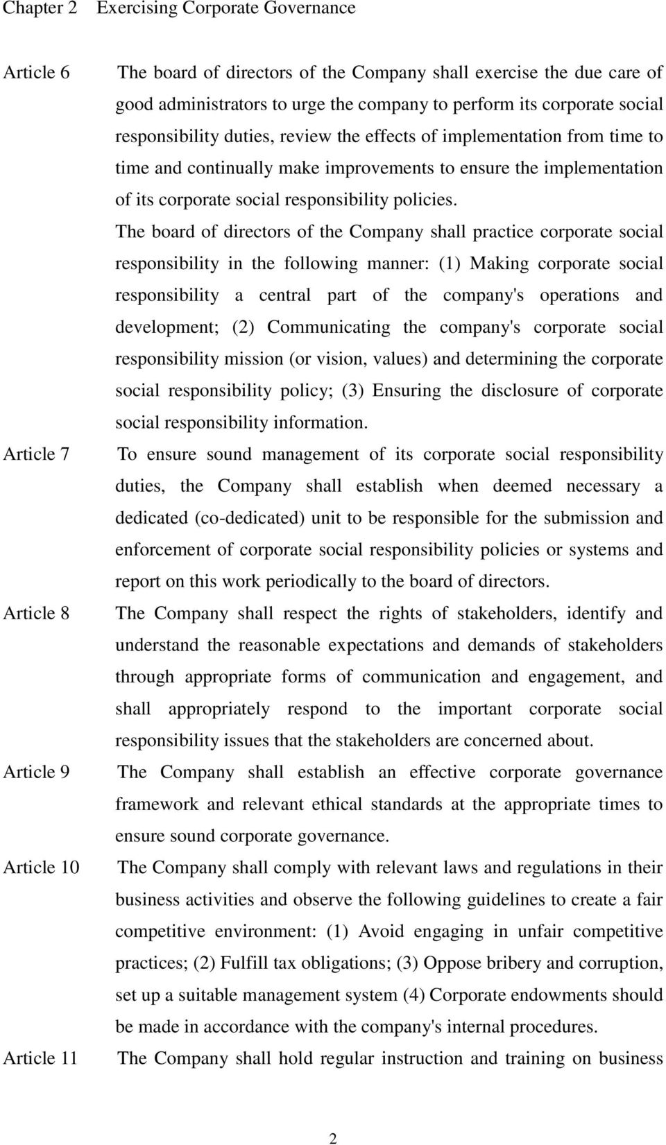 corporate social responsibility policies.