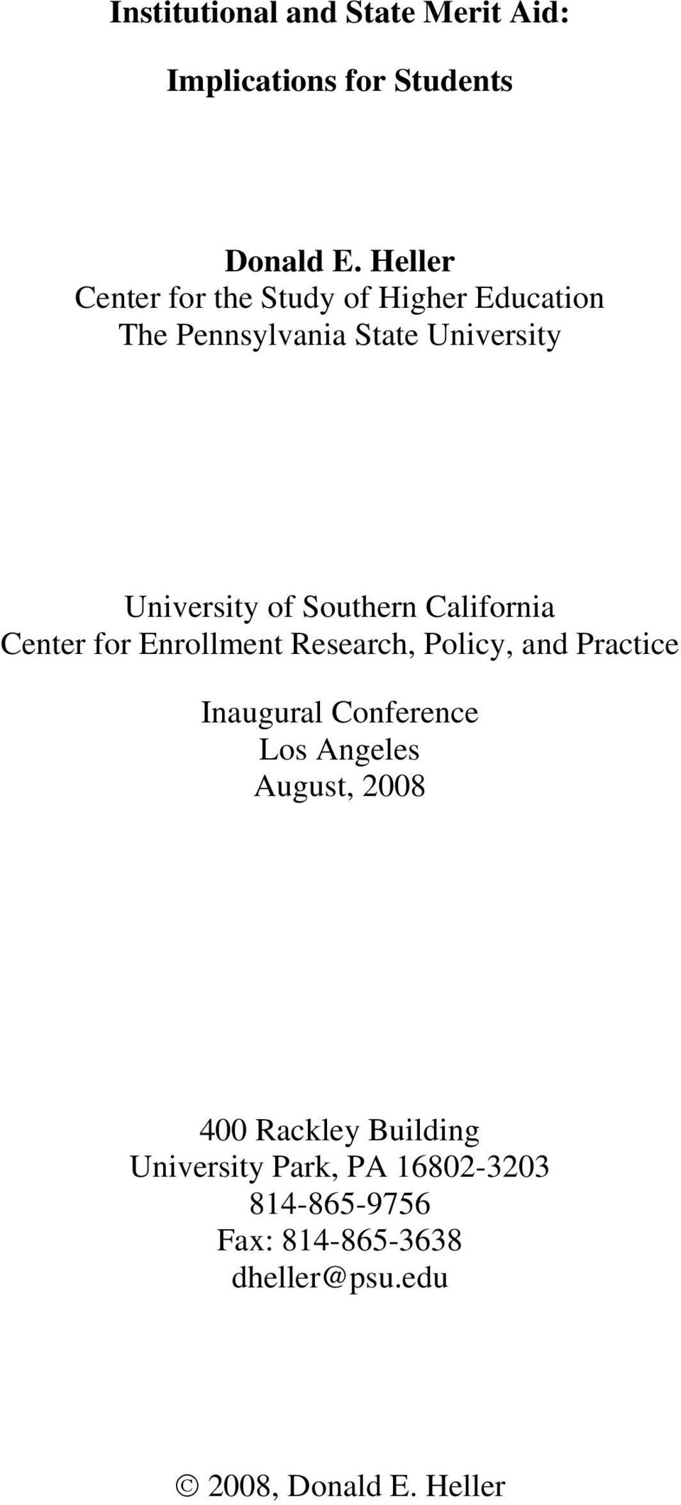 Southern California Center for Enrollment Research, Policy, and Practice Inaugural Conference Los