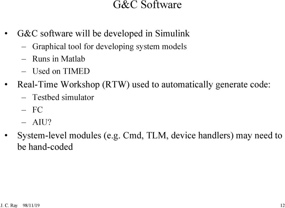 used to automatically generate code: Testbed simulator FC AIU?