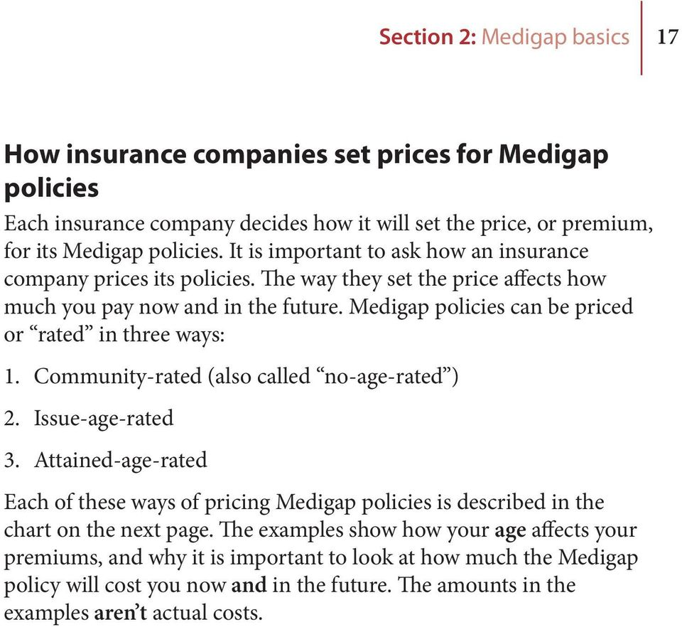 Medigap policies can be priced or rated in three ways: 1. Community-rated (also called no-age-rated ) 2. Issue-age-rated 3.