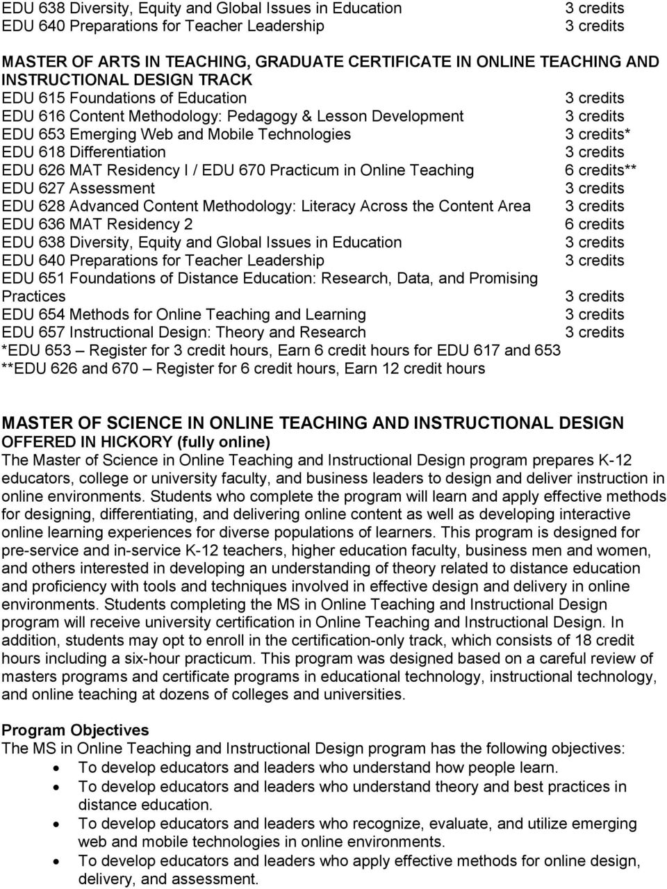 Practicum in Online Teaching 6 credits** EDU 627 Assessment EDU 628 Advanced Content Methodology: Literacy Across the Content Area EDU 636 MAT Residency 2 6 credits EDU 638 Diversity, Equity and