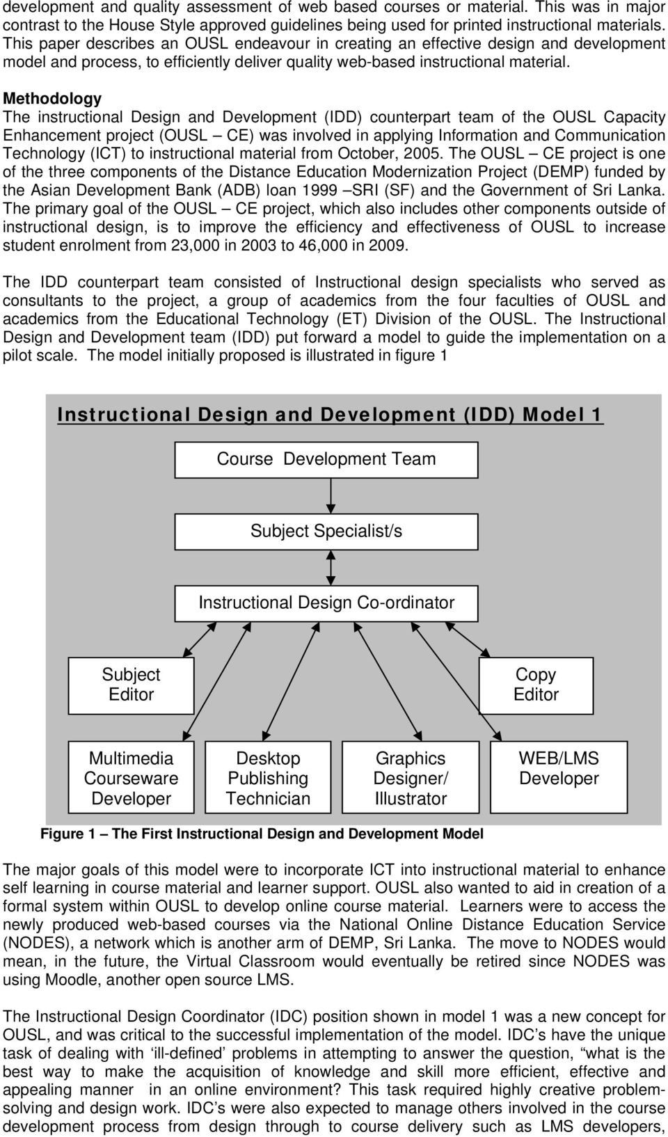 Methodology The instructional Design and Development (IDD) counterpart team of the OUSL Capacity Enhancement project (OUSL CE) was involved in applying Information and Communication Technology (ICT)