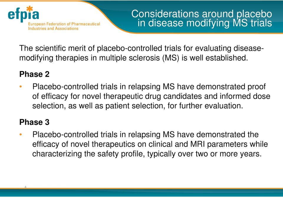 Phase 2 Placebo-controlled trials in relapsing MS have demonstrated proof of efficacy for novel therapeutic drug candidates and informed dose selection,