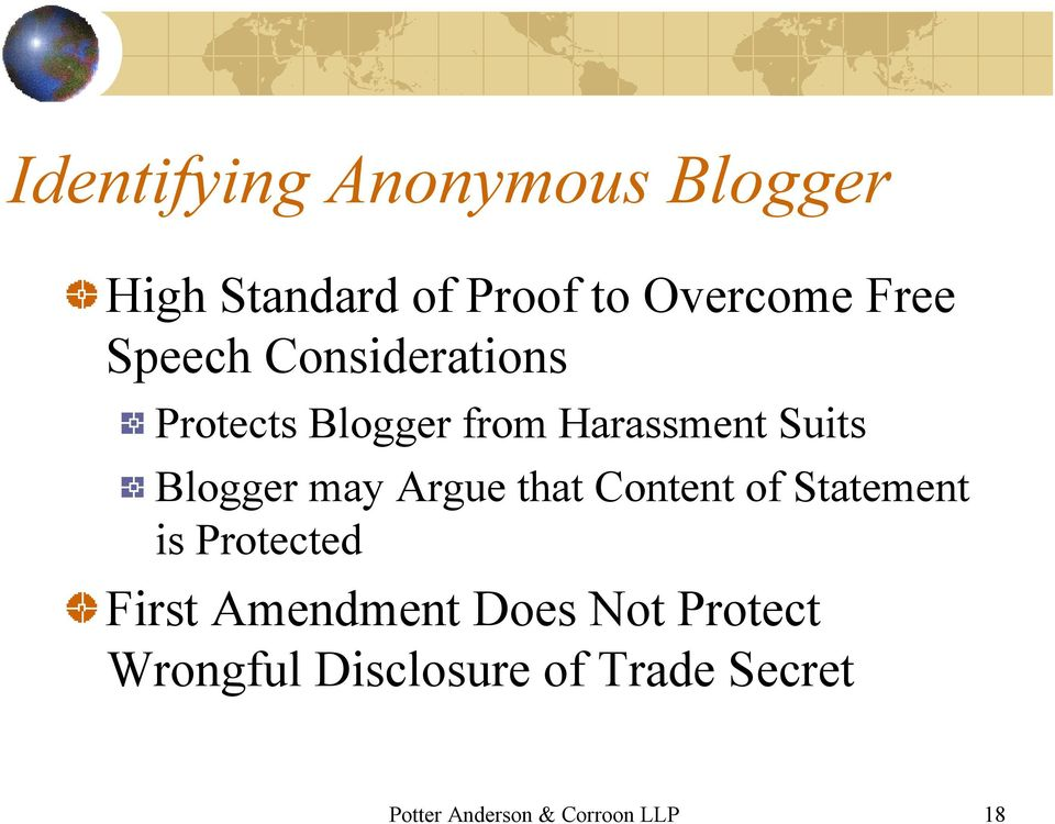 Argue that Content of Statement is Protected First Amendment Does Not