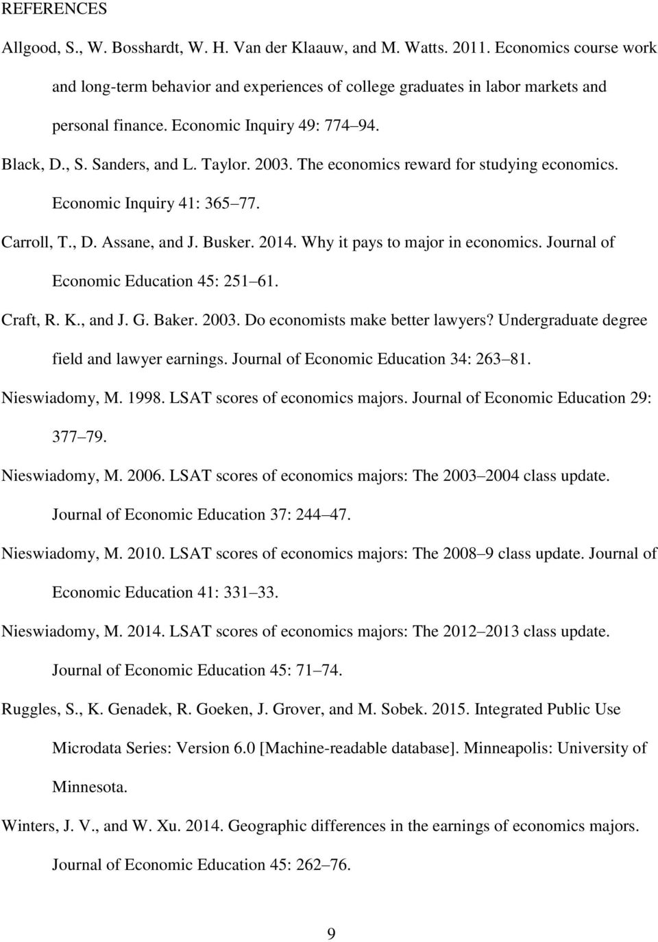Why it pays to major in economics. Journal of Economic Education 45: 251 61. Craft, R. K., and J. G. Baker. 2003. Do economists make better lawyers? Undergraduate degree field and lawyer earnings.