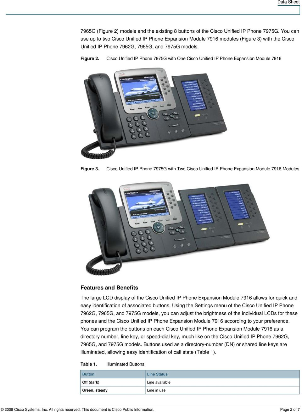 Cisco Unified IP Phone 7975G with One Cisco Unified IP Phone Expansion Module 7916 Figure 3.