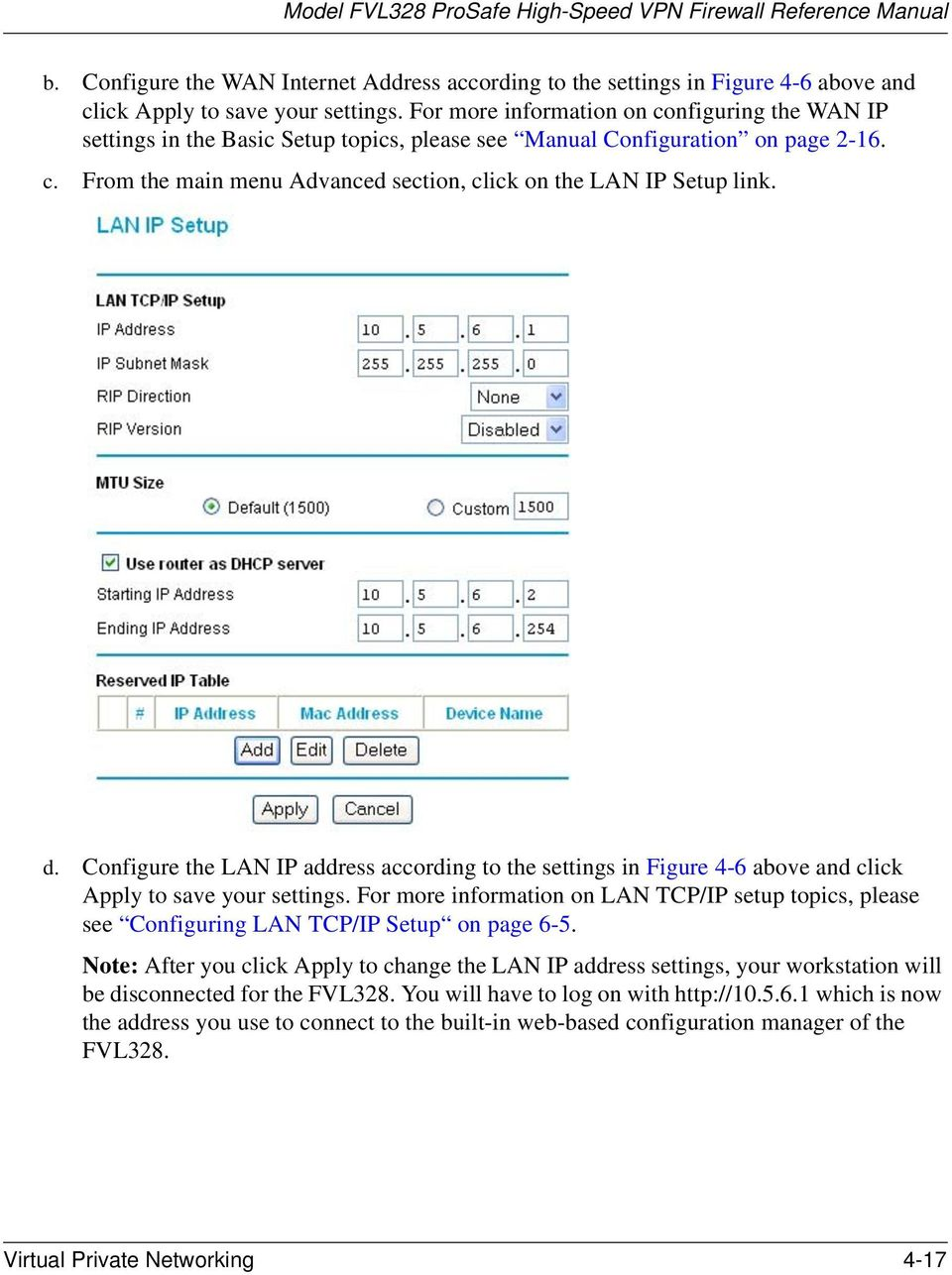 d. Configure the LAN IP address according to the settings in Figure 4-6 above and click Apply to save your settings.