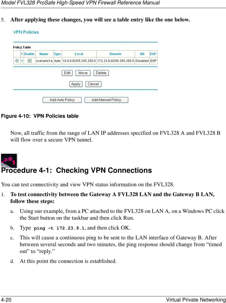 Procedure 4-1: Checking VPN Connections You can test connectivity and view VPN status information on the FVL328. 1.
