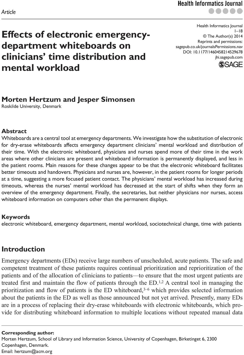 workload Health Informatics Journal 1 18 The Author(s) 2014 Reprints and permissions: sagepub.