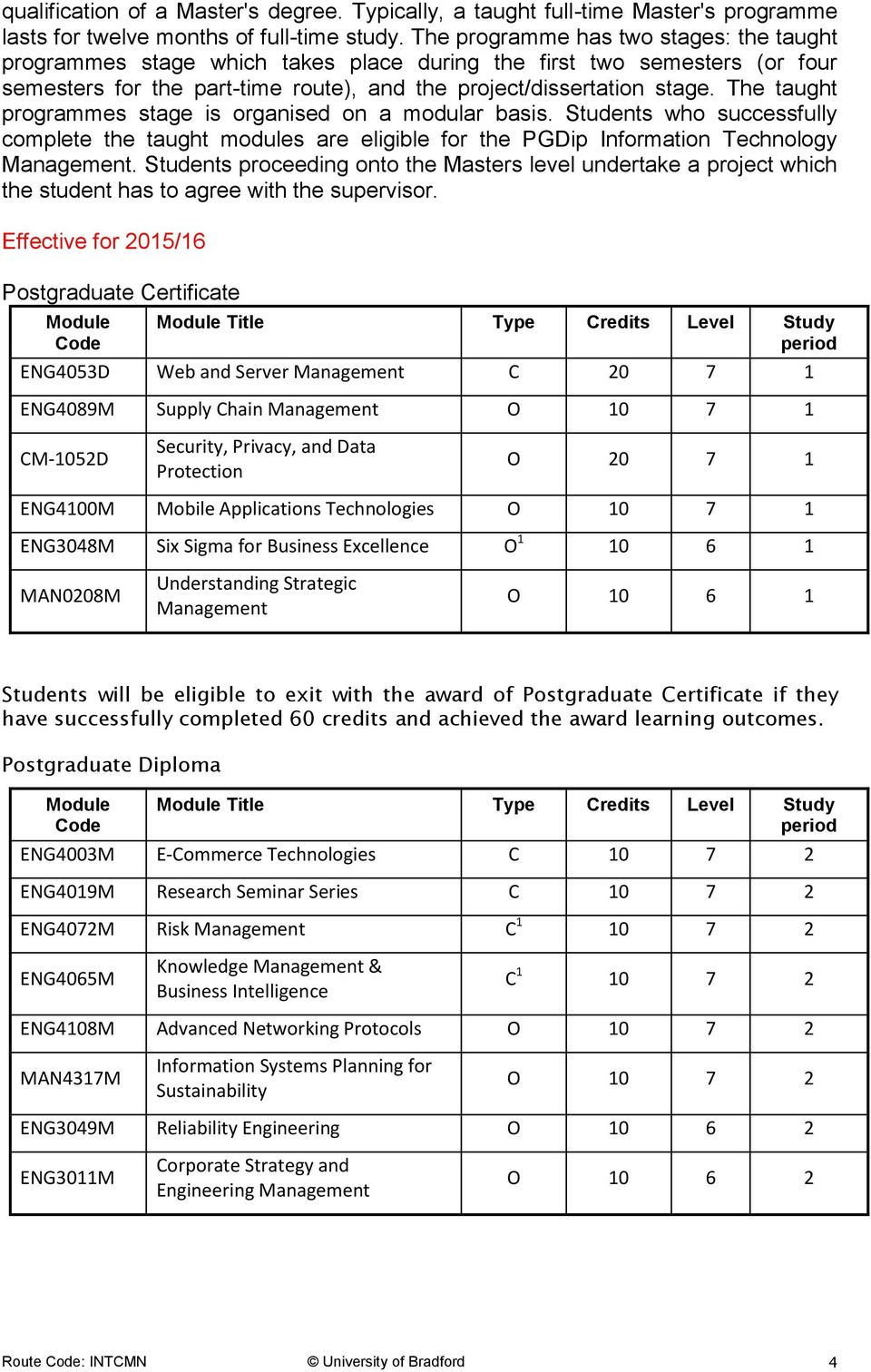 The taught programmes stage is organised on a modular basis. Students who successfully complete the taught modules are eligible for the PGDip Information Technology Management.