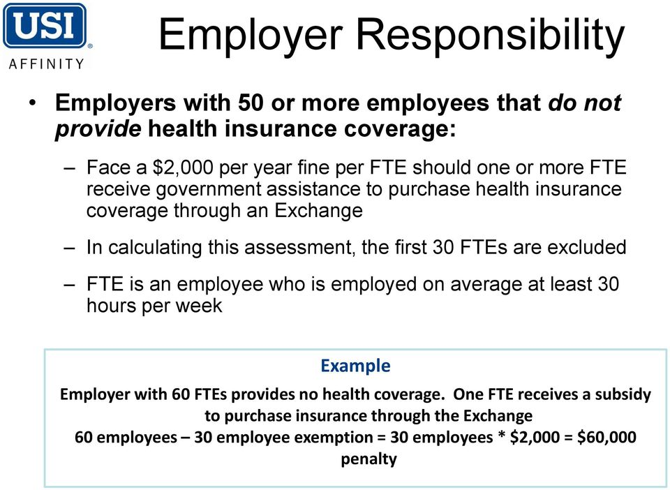 FTEs are excluded FTE is an employee who is employed on average at least 30 hours per week Example Employer with 60 FTEs provides no health coverage.
