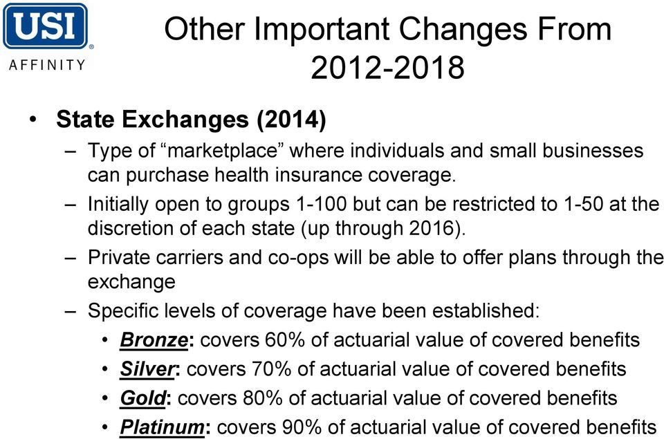 Private carriers and co-ops will be able to offer plans through the exchange Specific levels of coverage have been established: Bronze: covers 60% of