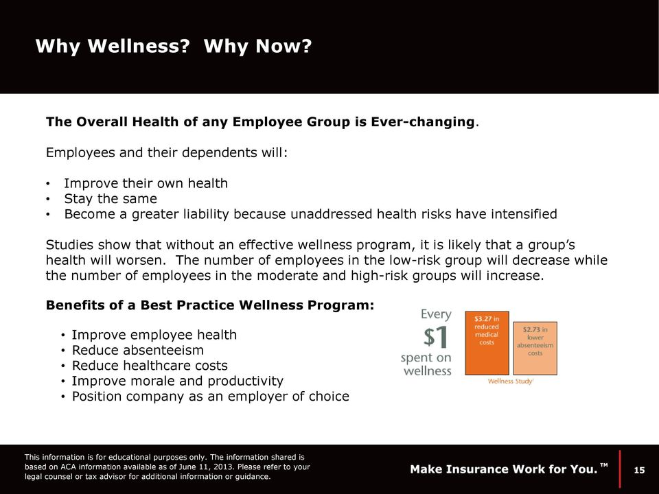 that without an effective wellness program, it is likely that a group s health will worsen.