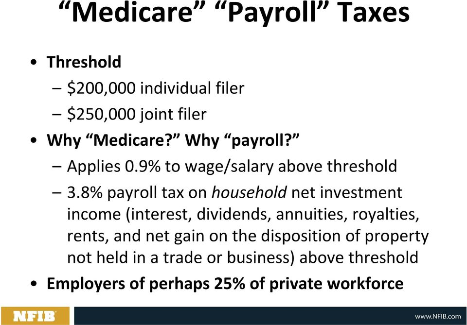 8% payroll tax on household net investment income (interest, dividends, annuities, royalties,