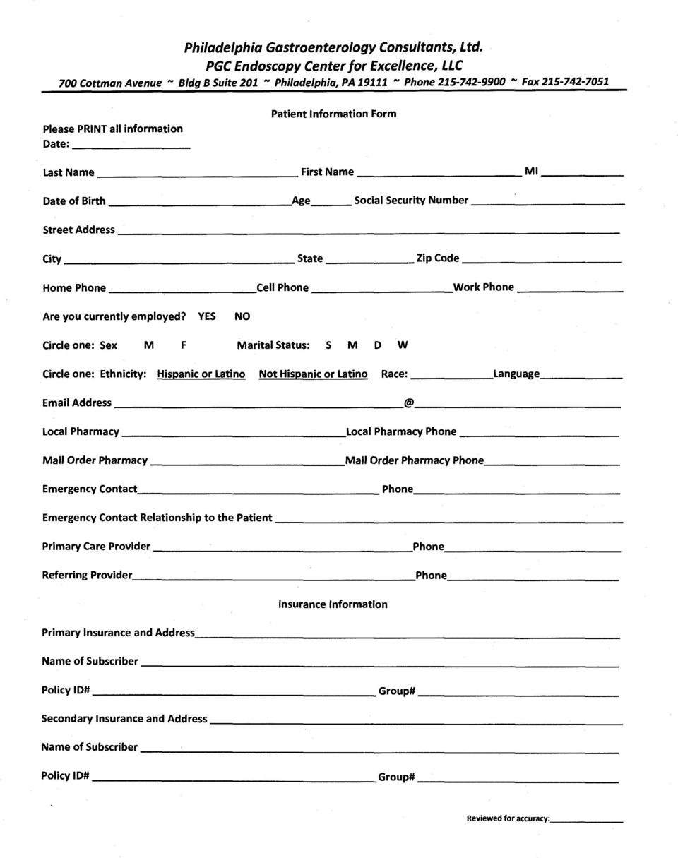 Information Form Last Name---------------First Name Date of Birth Age Ml Social Security Number----------- Street Address City State Zip Code------------ Home Phone -----------Cell Phone Work