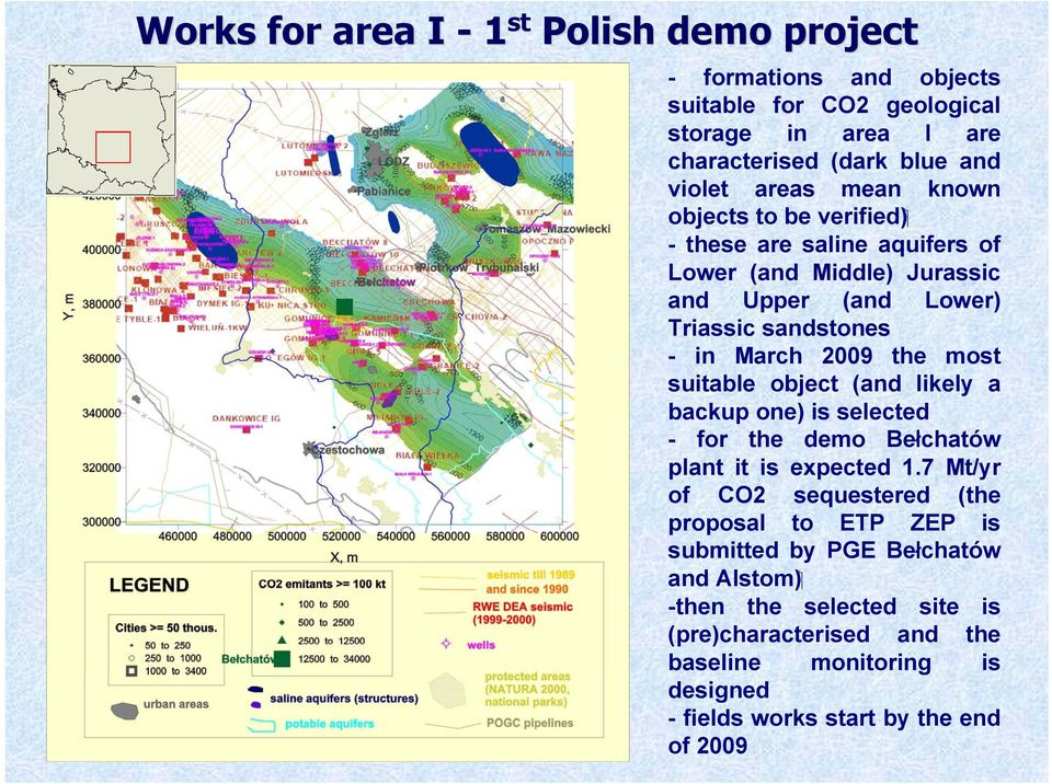 suitable object (and likely a backup one) is selected - for the demo Bełchatów plant it is expected 1.