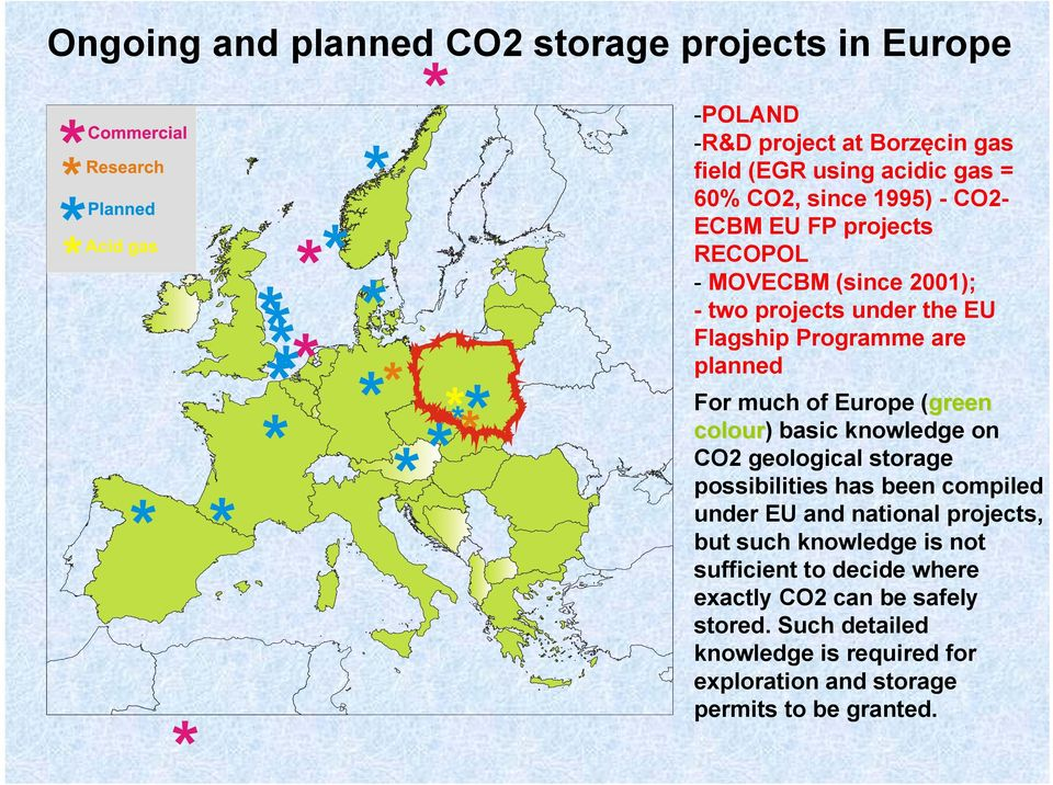 colour) basic knowledge on CO2 geological storage possibilities has been compiled under EU and national projects, but such knowledge is not