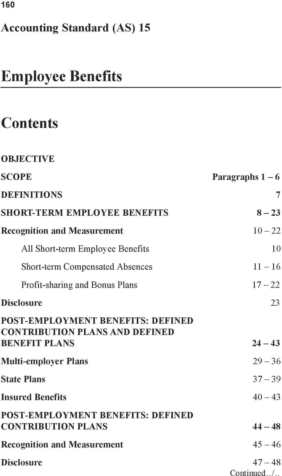 22 Disclosure 23 POST-EMPLOYMENT BENEFITS: DEFINED CONTRIBUTION PLANS AND DEFINED BENEFIT PLANS 24 43 Multi-employer Plans 29 36 State Plans 37