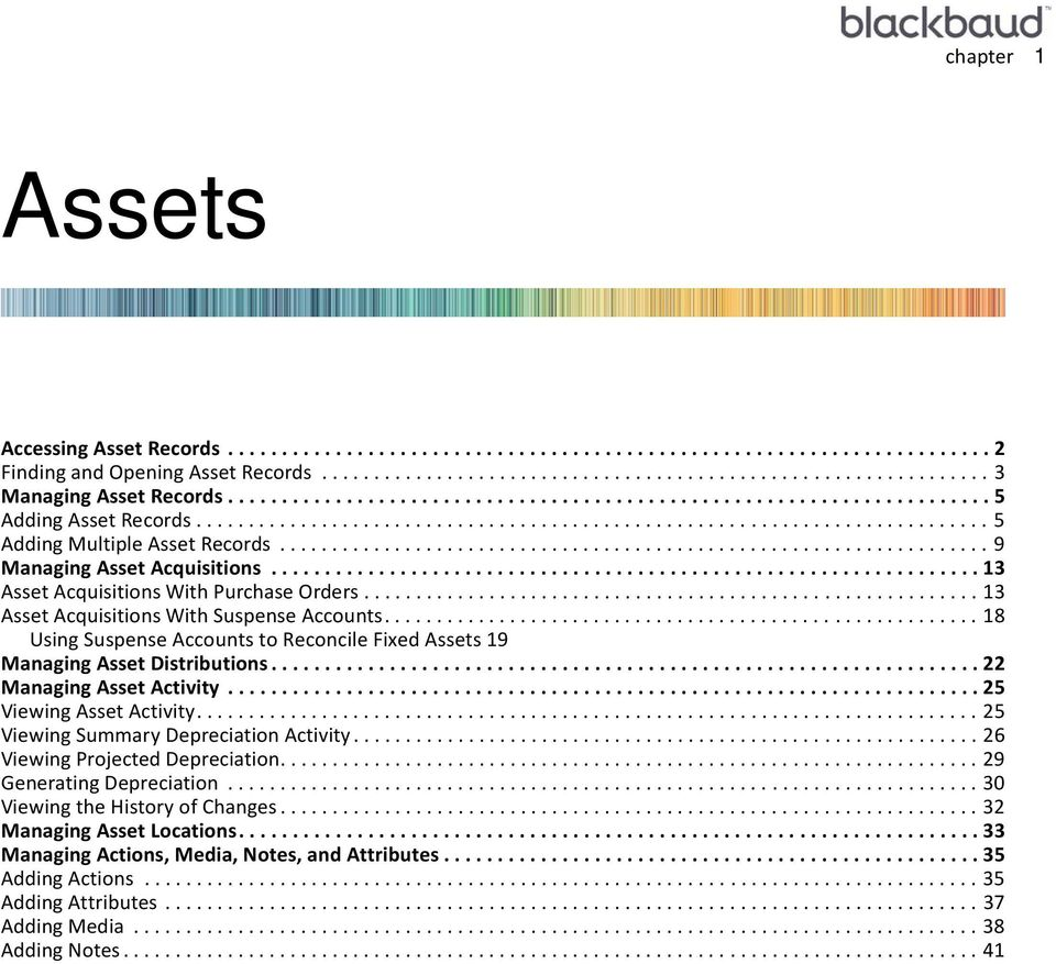 ................................................................... 9 Managing Asset Acquisitions.................................................................. 13 Asset Acquisitions With Purchase Orders.