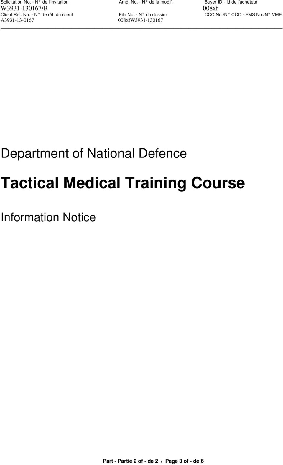 Training Course Information Notice