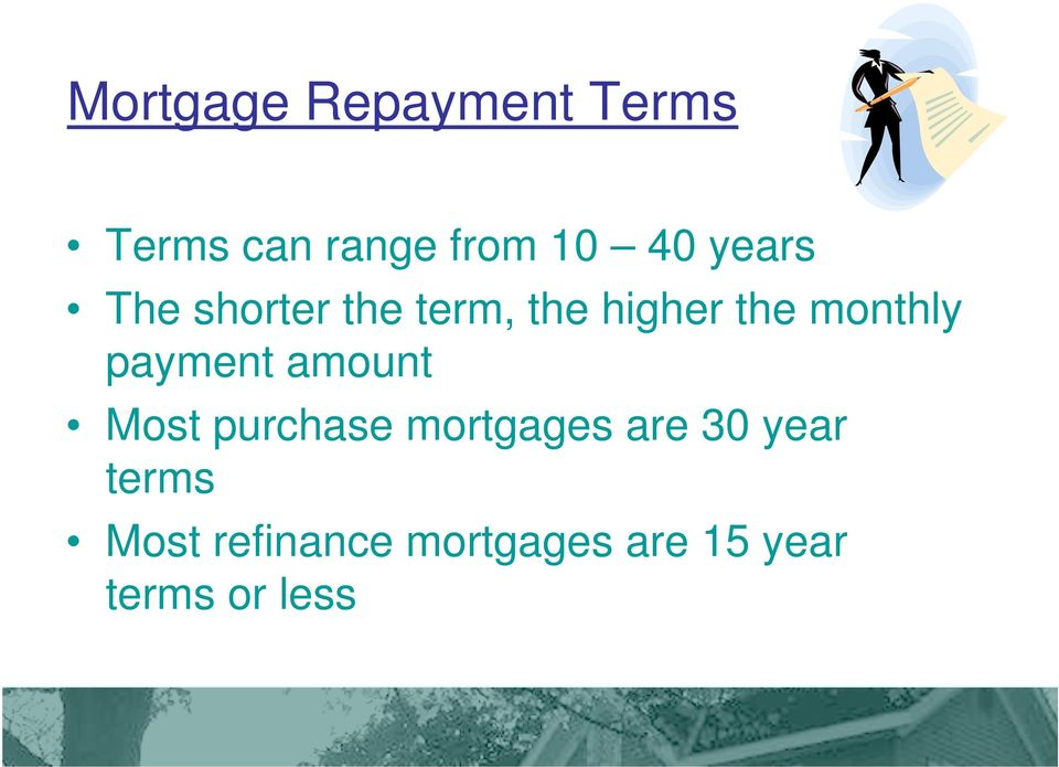 payment amount Most purchase mortgages are 30 year