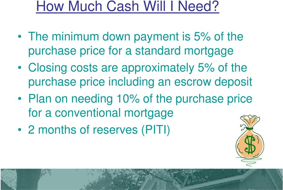 mortgage Closing costs are approximately 5% of the purchase price