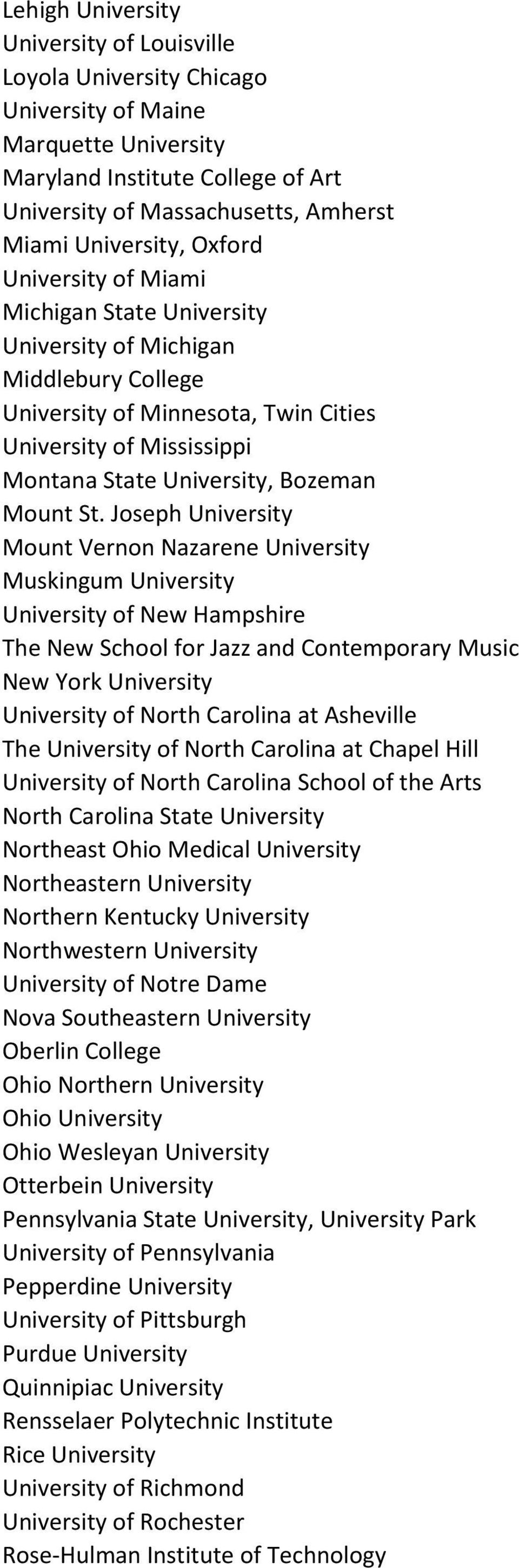 St. Joseph University Mount Vernon Nazarene University Muskingum University University of New Hampshire The New School for Jazz and Contemporary Music New York University University of North Carolina