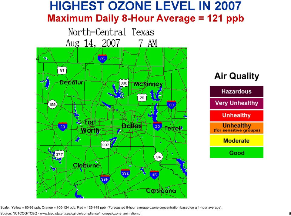 8-hour average ozone concentration based on a 1-hour average).