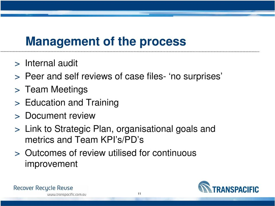 Document review > Link to Strategic Plan, organisational goals and
