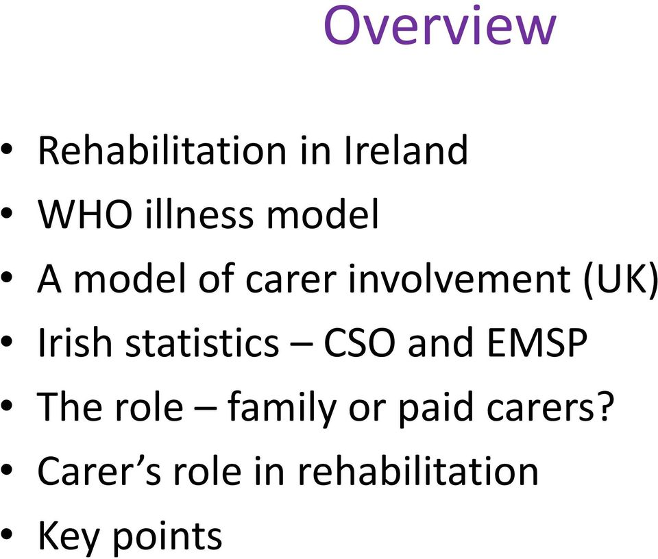 statistics CSO and EMSP The role family or paid