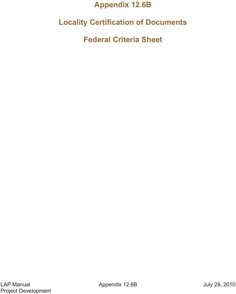 Documents Federal Criteria