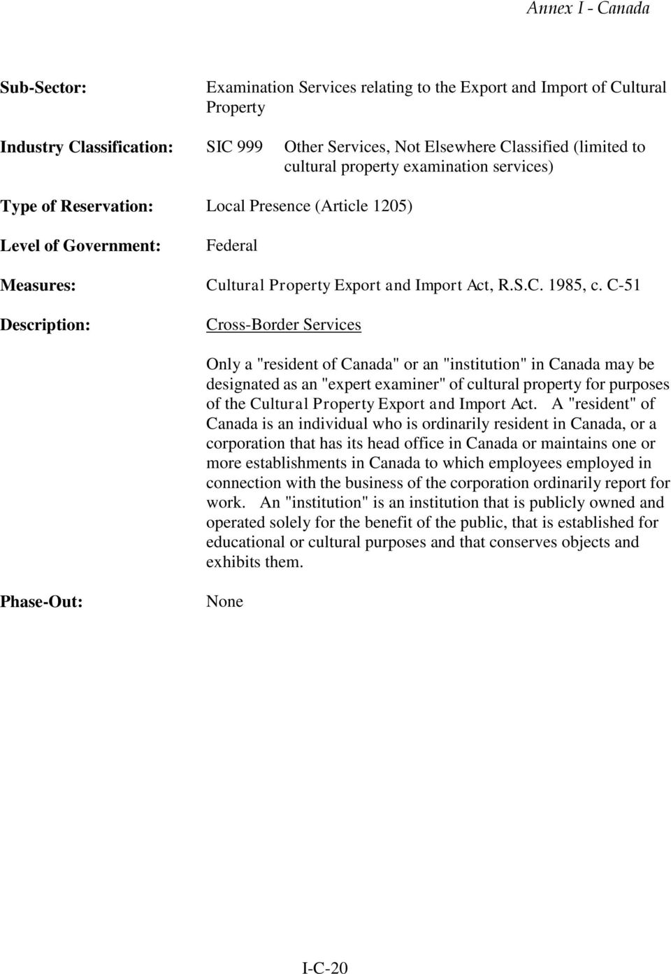 "C-51 Cross-Border Services Only a ""resident of Canada"" or an ""institution"" in Canada may be designated as an ""expert examiner"" of cultural property for purposes of the Cultural Property Export and"