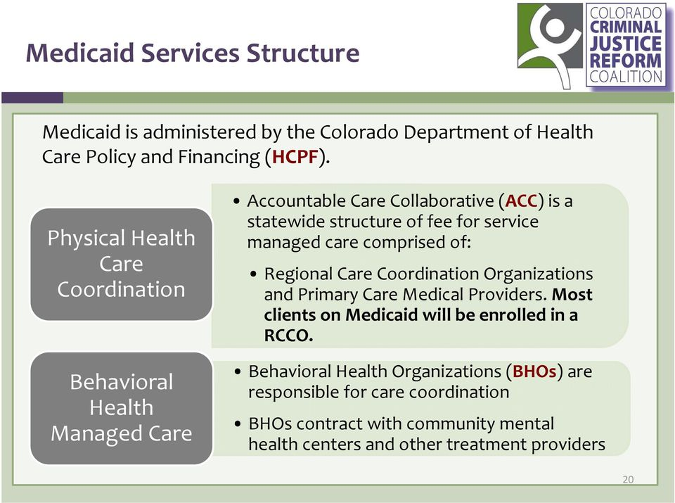 managed care comprised of: Regional Care Coordination Organizations and Primary Care Medical Providers.