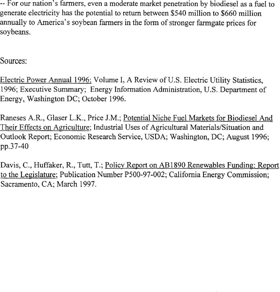 S. Department of Energy, Washington DC; October 1996. Raneses A.R., Glaser L.K., Price J.M.