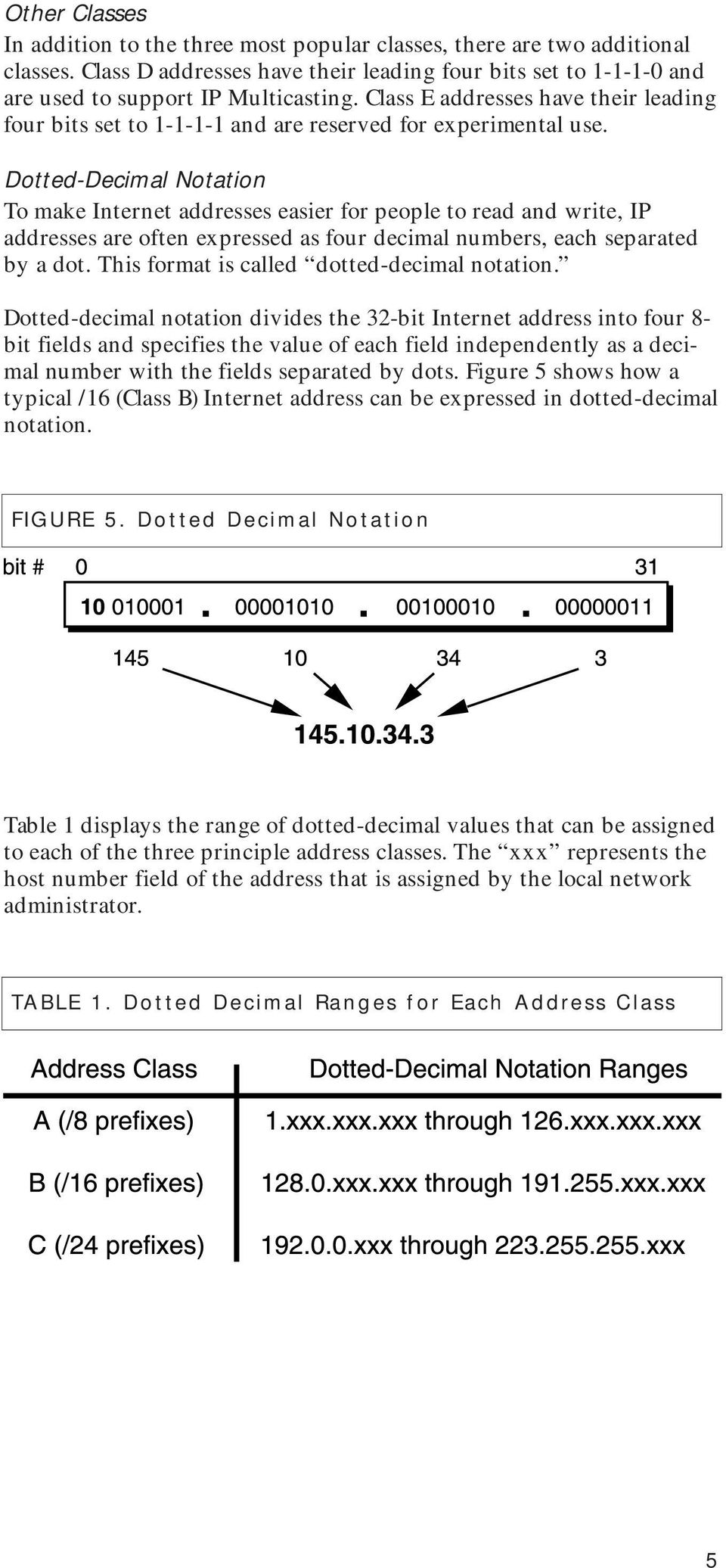 Dotted-Decimal Notation To make Internet addresses easier for people to read and write, IP addresses are often expressed as four decimal numbers, each separated by a dot.