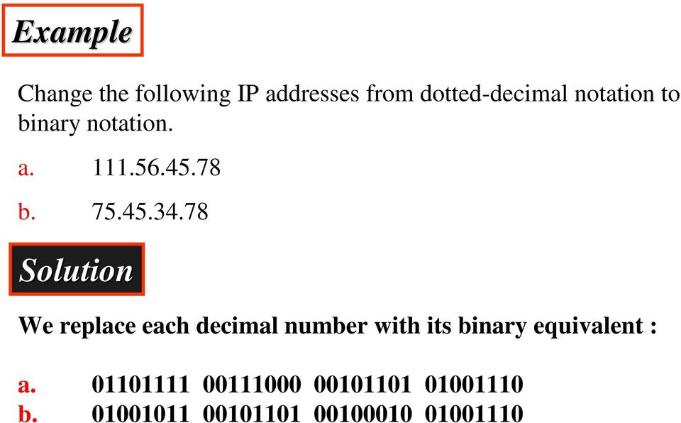 78 Solution We replace each decimal number with its binary